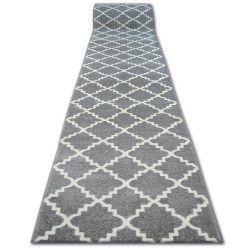 Tapis de couloir SKETCH F343 gris et blanc trèfle marocain trellis