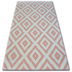 Koberec SKETCH - F998 růžový /krémový - čtverce Ruta