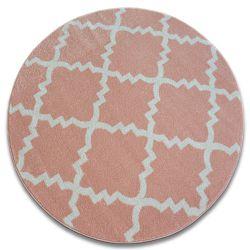 Sketch szőnyeg kör - F343 rózsaszín/krém Lóhere Marokkói Trellis