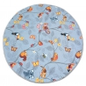 Carpet, round HAPPY TREE grey Owls Animals