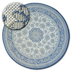 Carpet round FLAT 48691/591 SISAL - FLOWERS blue