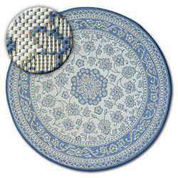 Fonott sizal flat szőnyeg kör48691/591 ÓLOMÜVEG virágok kék