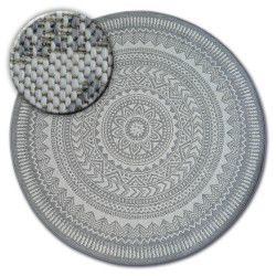 Carpet round FLAT 48695/637 SISAL - stained glass