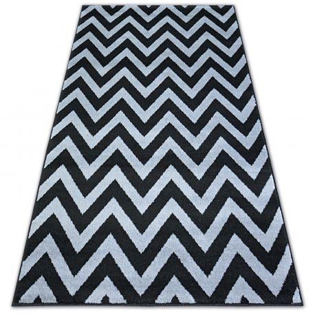 Tæppe BCF BASE CLINED 3898 ZIGZAG sort/grå