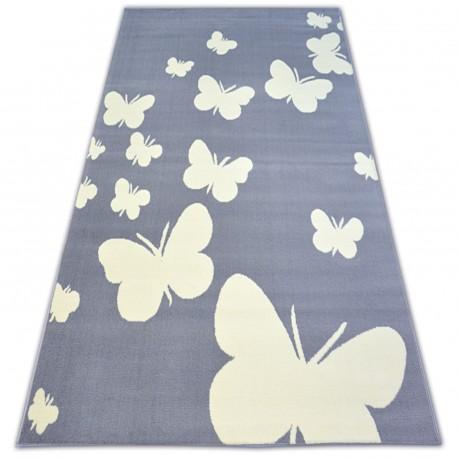 Tæppe BCF FLASH sommerfugl 3976 sommerfugle grå