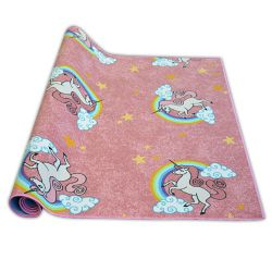 Passadeira carpete infantil UNICORN cor de rosa UNICÓRNIO