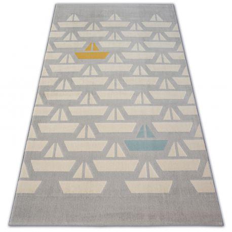 Carpet PASTEL 18411/052 - Sailboats Boats grey cream turquoise gold