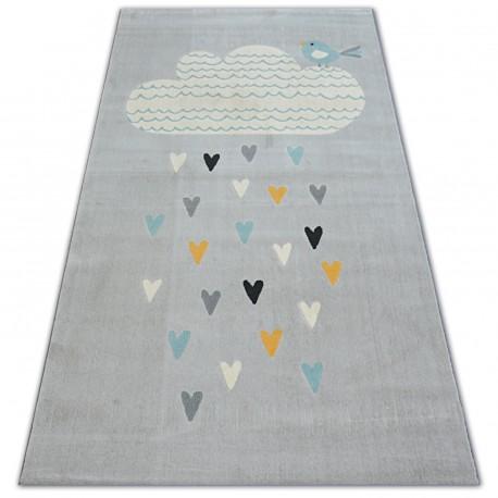 Carpet PASTEL 18409/652 - Cloud Hearts Bird grey cream turquoise