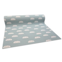 Anti-slip Fitted carpet for kids CLOUDS green