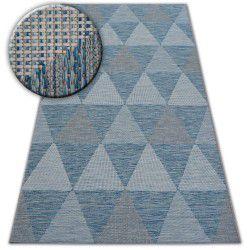 Covor sisal Loft 21132 Triunghiuri fildeş si argintiu si albastru