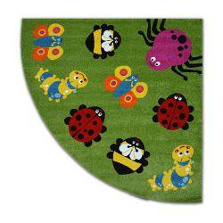 Carpet PAINT quarter circle G4774 - Animals green/cream