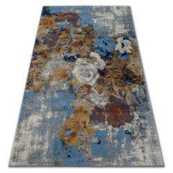 Soft szőnyeg 6312 virágok fényes szürke / kék / mustár