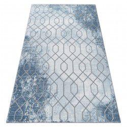 Tapis ACRYLIQUE VALENCIA 3951 HEXAGON bleu / gris