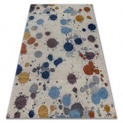 Koberec SOFT 6152 SPLASH PASTEL, krémový, recyklovatelná bavlnavatelná bavlna světle-šedý, modrý