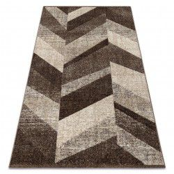 Matta FEEL 5673/15044 HERRINGBONE d.brun / beige / grädde / grå