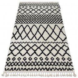 Tapis BERBER SAFI N9040 blanc et noir Franges berbère marocain shaggy