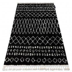Tapis BERBER ETHNIC G3802 noir et blanc Franges berbère marocain shaggy
