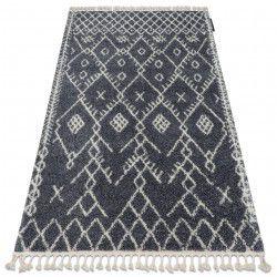 Tapis BERBER TANGER B5940 gris et blanc Franges berbère marocain shaggy