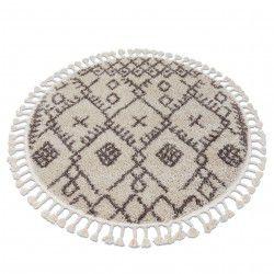 Kulatý koberec BERBER TANGER B5940, krémovo-hnědý - střapce, Maroko, Shaggy