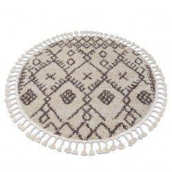 Tapis BERBER TANGER B5940 cercle crème et marron Franges berbère marocain shaggy
