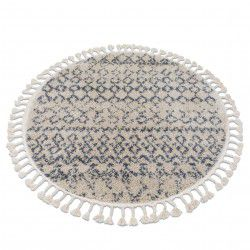 Tapis BERBER AGADIR G0522 cercle crème et gris Franges berbère marocain shaggy