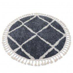 Tapis BERBER CROSS B5950 cercle gris et blanc Franges berbère marocain shaggy