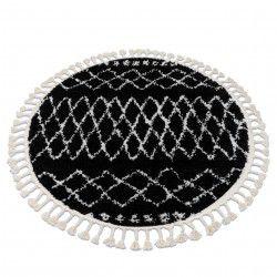 Okrúhly koberec BERBER ETHNIC G3802, čierna -biela, strapce, Maroko, Shaggy