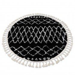 Tapis BERBER ETHNIC G3802 cercle noir et blanc Franges berbère marocain shaggy
