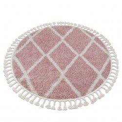 Tapete BERBER TROIK A0010 redondo cor de rosa/branco Franjas berbere marroquino shaggy