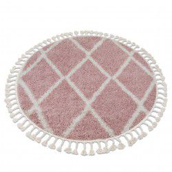Tapis BERBER TROIK A0010 cercle rose et blanc Franges berbère marocain shaggy