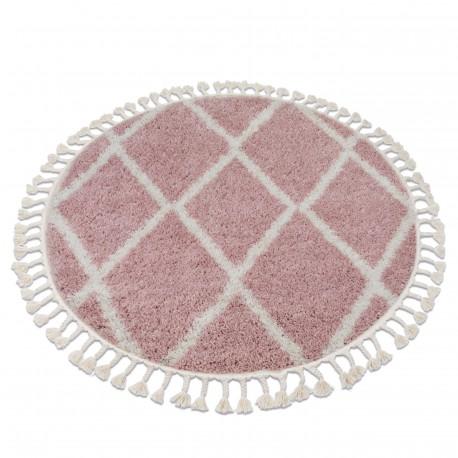 Kulatý koberec BERBER TROIK A0010, růžovo-bílá - střapce, Maroko, Shaggy
