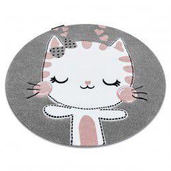 Carpet PETIT KITTY cat circle grey
