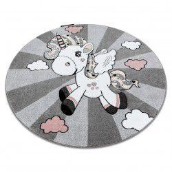 Kulatý koberec PETIT JEDNOROŽEC, šedý