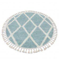 Tapis BERBER TROIK A0010 cercle bleu et blanc Franges berbère marocain shaggy