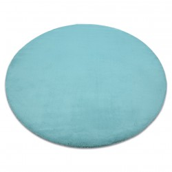 Carpet BUNNY circle aqua blue IMITATION OF RABBIT FUR