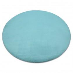 Килим BUNNY кръг aqua син имитация на заешка кожа