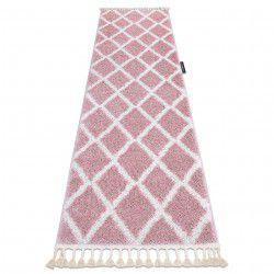 Běhoun BERBER TROIK růžová - střapce, do kuchyně, předsíně, chodby, haly