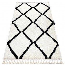 Tapete BERBER CROSS branco Franjas berbere marroquino shaggy
