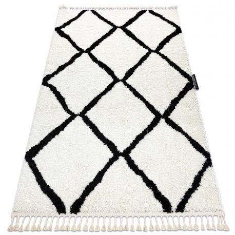 Dywan BERBER CROSS biały Frędzle berberyjski marokański shaggy