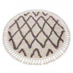 Okrúhly koberec BERBER BENI krémová - strapce, Maroko, Shaggy
