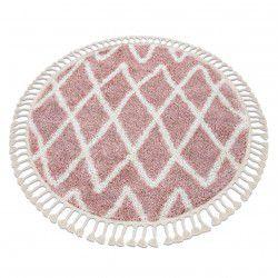 Okrúhly koberec BERBER BENI Maroko, Shaggy, strapce, ružová