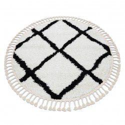 Tapete BERBER CROSS redondo branco Franjas berbere marroquino shaggy