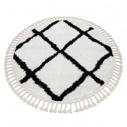 Tapis BERBER CROSS cercle blanc Franges berbère marocain shaggy