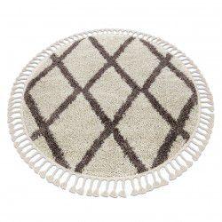 Okrúhly koberec BERBER TROIK, krémová - strapce, Maroko, Shaggy