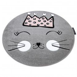 Carpet PETIT CAT CROWN circle grey