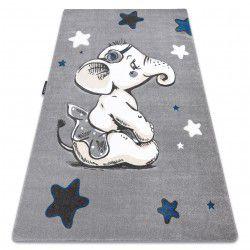 Koberec PETIT ELEPHANT SLONÍK, HVĚZDY, šedý
