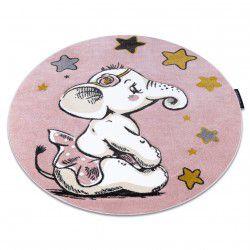 Kulatý koberec PETIT SLONÍK, HVĚZDY, růžový