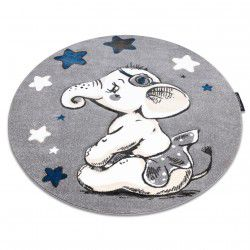 Kulatý koberec PETIT SLONÍK, HVĚZDY, šedý