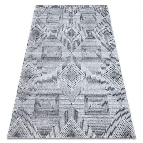 Dywan Strukturalny SIERRA G5011 Płasko tkany, dwa poziomy runa szary / czarny - geometryczny, romby