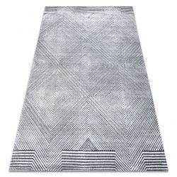 Dywan Strukturalny SIERRA G5012 Płasko tkany, dwa poziomy runa szary - geometryczny, romby
